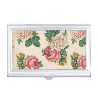 素朴なぼろぼろのばら色の花パターンピンクのバラ 名刺入れ
