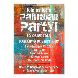 素朴なアウトドアのペイントボールのパーティの招待状 カード