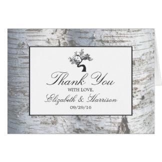 素朴なアメリカシラカンバの木の結婚式は感謝していしています カード