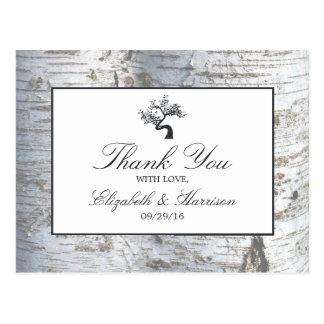 素朴なアメリカシラカンバの木の結婚式は感謝していしています ポストカード