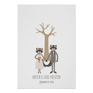 素朴なアライグマの指紋の署名の木 ポスター