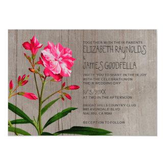素朴なオレアンダーの結婚式招待状 カード