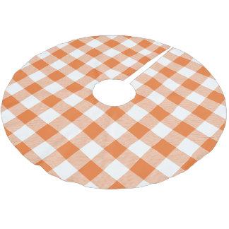 素朴なオレンジおよび白いバッファローの点検の格子縞 ブラッシュドポリエステルツリースカート
