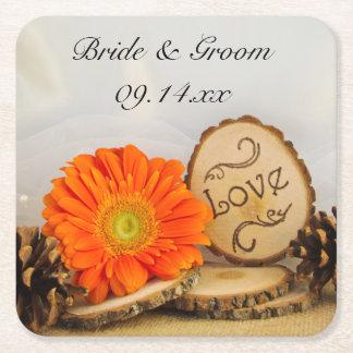 素朴なオレンジデイジーの森林結婚式 スクエアペーパーコースター