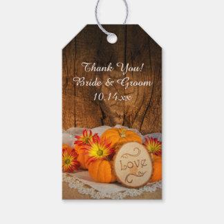 素朴なカボチャ秋の結婚式のメッセージカード ギフトタグパック