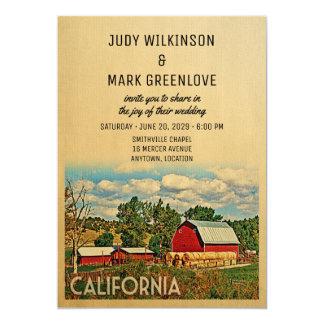 素朴なカリフォルニア結婚式招待状の農場の納屋 カード