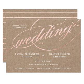 素朴なクラフト及びばら色の金ゴールドの原稿の結婚式 カード