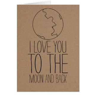 素朴なクラフト紙のかわいい月のバレンタインデー グリーティングカード