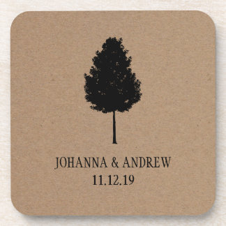 素朴なクラフト紙の森林木の結婚式 コースター