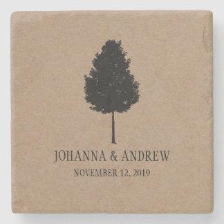 素朴なクラフト紙の森林木の結婚式 ストーンコースター