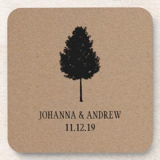 素朴なクラフト紙の森林木の結婚式 飲み物コースター
