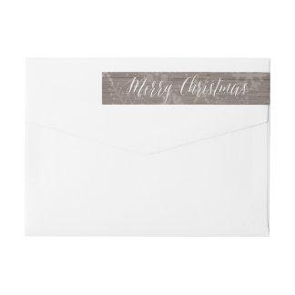 素朴なクリスマスの差出人住所ラベル ラップアラウンド返信用宛名ラベル