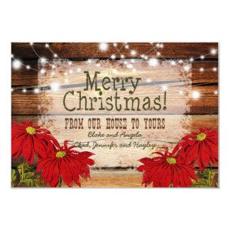 素朴なクリスマスカード の納屋木およびライト カード