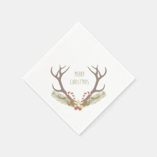 素朴なクリスマス|の枝角及びキャンディ・ケーン スタンダードカクテルナプキン