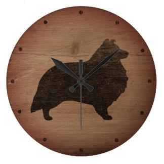 素朴なシェットランド・シープドッグのシルエット ラージ壁時計
