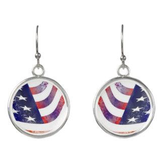 素朴なスタイルの米国旗のイヤリング イヤリング