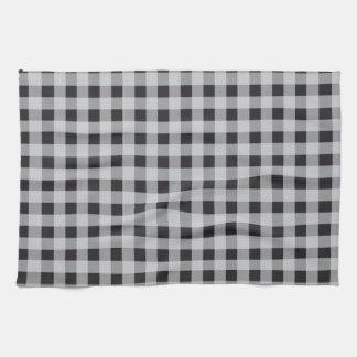 素朴なスタイルを作られた白黒格子縞 キッチンタオル