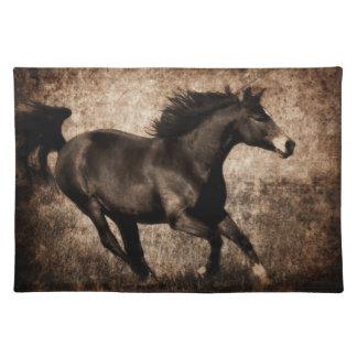 素朴なセピア色の疾走する馬 ランチョンマット