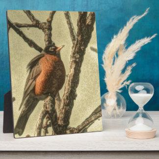 素朴なツリーブランチのミシガン州の鳥ロビン フォトプラーク
