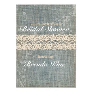 素朴なデニムのレースのブライダルシャワーの招待状 カード