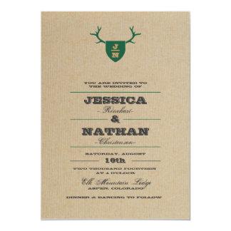 素朴なトロフィの緑の結婚式招待状 カード