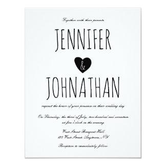 素朴なハートのシンプルの結婚式招待状 10.8 X 14 インビテーションカード