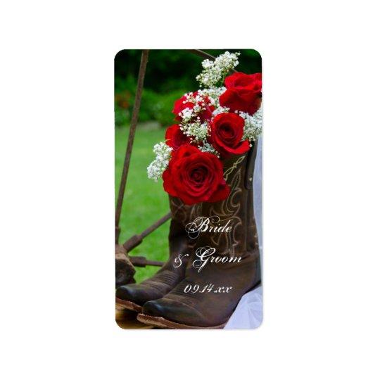 素朴なバラのカウボーイ・ブーツの国の西部の結婚式 宛名ラベル