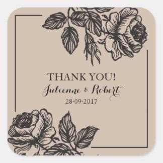 素朴なバラは結婚式の引き出物のステッカー感謝していしています スクエアシール