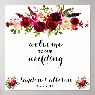 素朴なバーガンディの花の水彩画の結婚式の印 ポスター