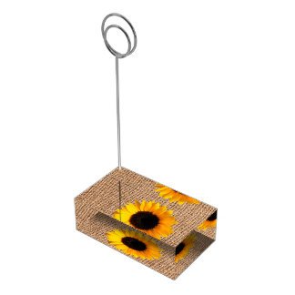 素朴なバーラップおよびヒマワリのテーブルカードホルダー テーブルカードホルダー