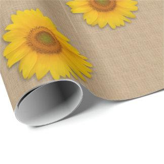 素朴なバーラップおよびヒマワリの国の包装紙 ラッピングペーパー