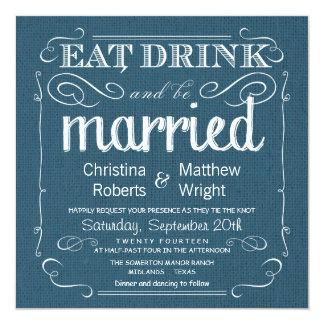 素朴なバーラップのデニムの青の結婚式招待状 カード