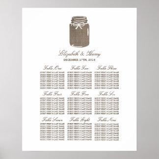素朴なバーラップのメーソンジャーの結婚式の座席の図表 プリント
