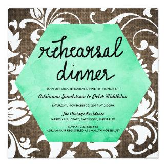 素朴なバーラップの花の水彩画のリハーサルの夕食 13.3 スクエアインビテーションカード