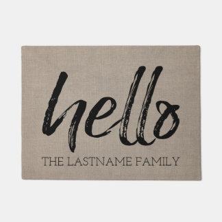 素朴なバーラップ-カスタムな家族のこんにちは挨拶 ドアマット