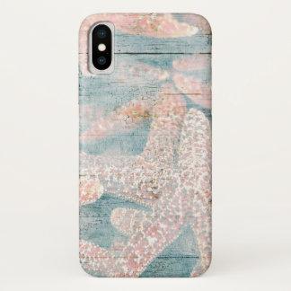 素朴なヒトデのティール(緑がかった色)の青 iPhone X ケース