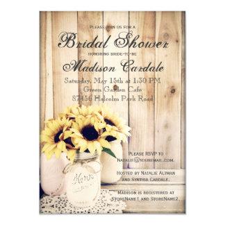 素朴なヒマワリのメーソンジャーのブライダルシャワーの招待 カード