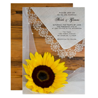 素朴なヒマワリのレースの国の結婚式招待状 カード