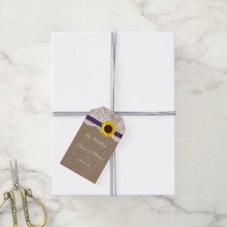 素朴なヒマワリの結婚式のコレクション-紫色 ギフトタグ