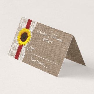 素朴なヒマワリの結婚式のコレクション-赤 プレイスカード