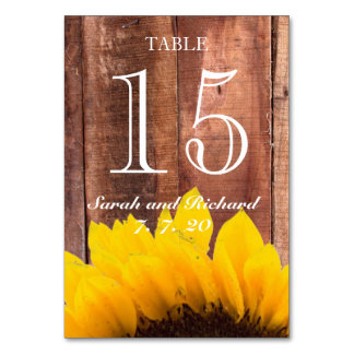 素朴なヒマワリの結婚式のテーブル数カード カード