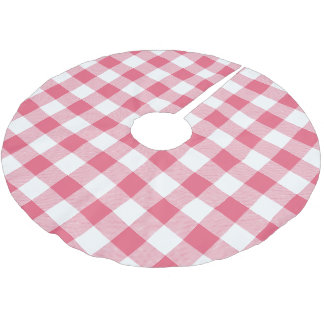 素朴なピンクおよび白いバッファローの点検の格子縞 ブラッシュドポリエステルツリースカート