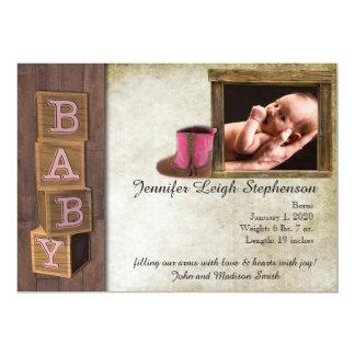 素朴なピンクの国の写真の赤ん坊の発表 カード