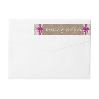 素朴なピンクの弓結婚式のコレクションのラベル ラップアラウンド返信用宛名ラベル