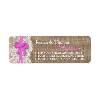 素朴なピンクの弓結婚式のコレクションのラベル 返信用宛名ラベル