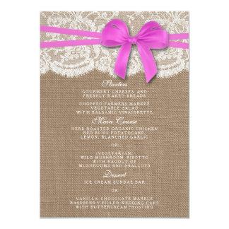 素朴なピンクの弓結婚式のコレクションメニューカード 11.4 X 15.9 インビテーションカード