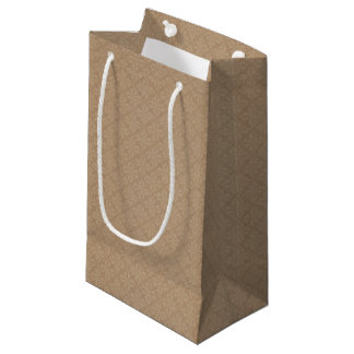 素朴なブラウンのレースパターン結婚式の引き出物 スモールペーパーバッグ