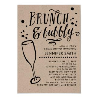 素朴なブランチおよび快活なブライダルシャワーの招待状 カード