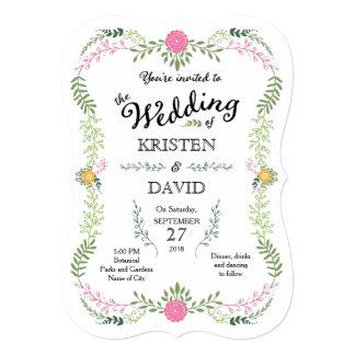 素朴なボヘミアの春の群葉のリースの結婚式 12.7 X 17.8 インビテーションカード