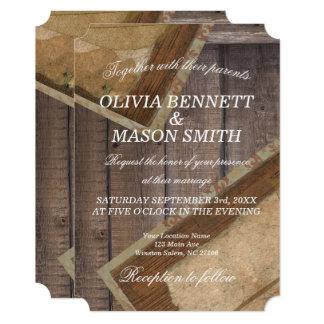 素朴なボヘミア木織り目加工の結婚式の招待状 カード
